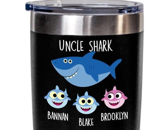 Uncle Shark Tumbler Christmas Gift from Niece and Nephew Personalized Tumbler Godfather Gifts for Uncle Gifts from Kids Uncle Birthday Gift