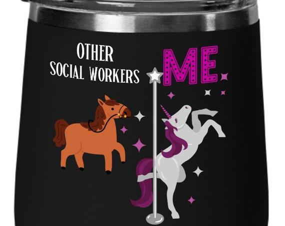 Social Worker Gift Unicorn Wine Gift for Women Unicorn Birthday Gift Wine Glass Unicorn Cup Gift for Her Stemless Wine Glass For Coworker