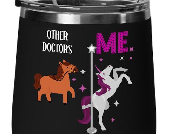 Doctor Gift Unicorn Wine Gift for Women Gift For Doctor Appreciation Gift Unicorn Birthday Gift Unicorn Cup Gift for Her Stemless Wine Glass