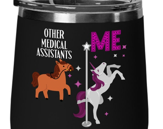 Medical Assistant Gift Unicorn Wine Gift for Women Employee Appreciation Gift for Assistant Unicorn Birthday Gift Unicorn Cup Gift for Her