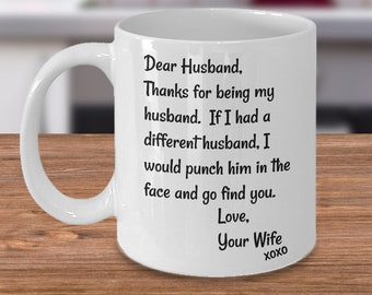 Husband Gift For Men Mug Anniversary Funny Birthday Face Punch Him Gag Gifts