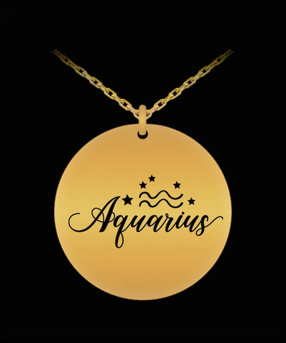Aquarius, Born Jan 20 - Feb 18: Astrology Constellation Zodiac Symbol Nameplate, Laser Engraved Gold Necklace Displays Birthday Horoscope