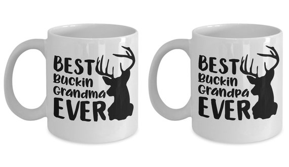 Best Buckin Mug Set for Grandma and Grandpa Gift for Grandparents Couples Gift Gag Gift for Men and Women Rustic Hunting Lovers