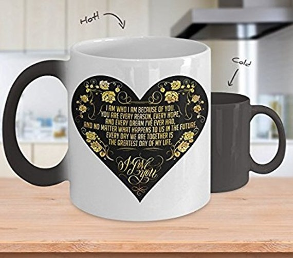My Wife Color Changing Mug - Because of You - Sentimental Gift For Significant Other - Valentines Day Gift Anniversary Gift For Fiance