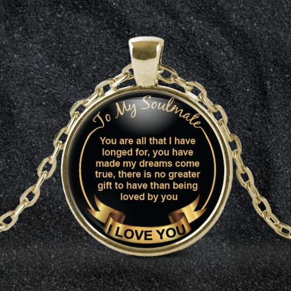 Soulmate Necklace, Gift for Wife, Soulmate Jewelry, Husband Necklace, Soul Mate Necklace, Round Gold Pendant, Anniversary Gift, Soulmates