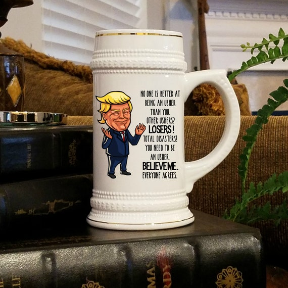 Usher Proposal Gift Trump Beer Stein For Usher Proposal Box Wedding Party Gift Idea for Best Friend Brother Celebrating Engagement Beer Mug