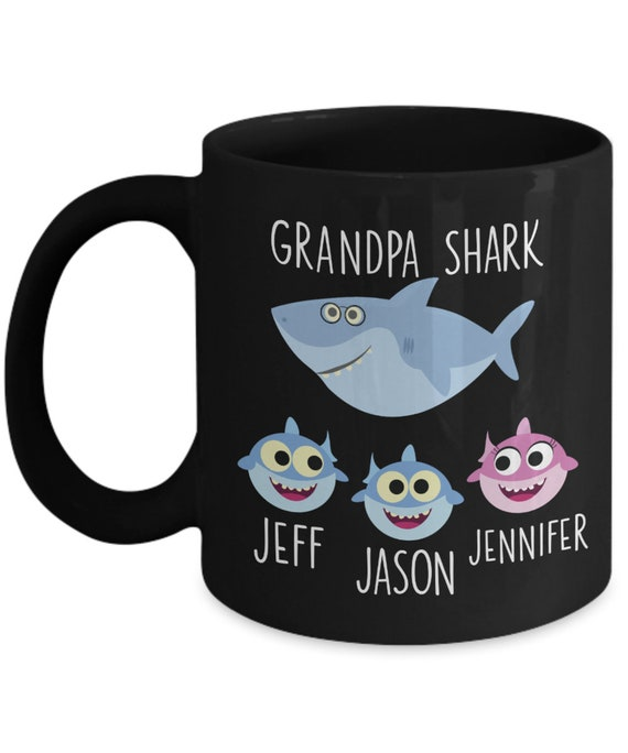 Personalized Grandpa Shark Gift Papa Shark Mug for Fathers Day Gift Baby Shark Gift for Pop From Daughter Gift From Son Grandfather Gift Mug