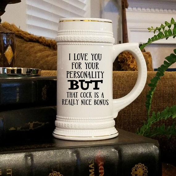 I Love Your Cock Beer Stein For Boyfriend Gifts for Him Beer Tankard Inappropriate Mug Beer Lover Gifts Gag Gifts for Men Beer Mugs For Men