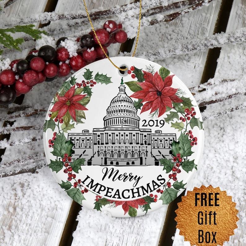 Impeach Trump Christmas Ornament Merry Impeachmas Political image 0