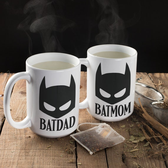 Batdad & Batmom Mug Set Gift for Couples Gift for Parents Christmas Gift for Dad and Mom Superhero Gift His and Hers Mugs Batman Pun Mug