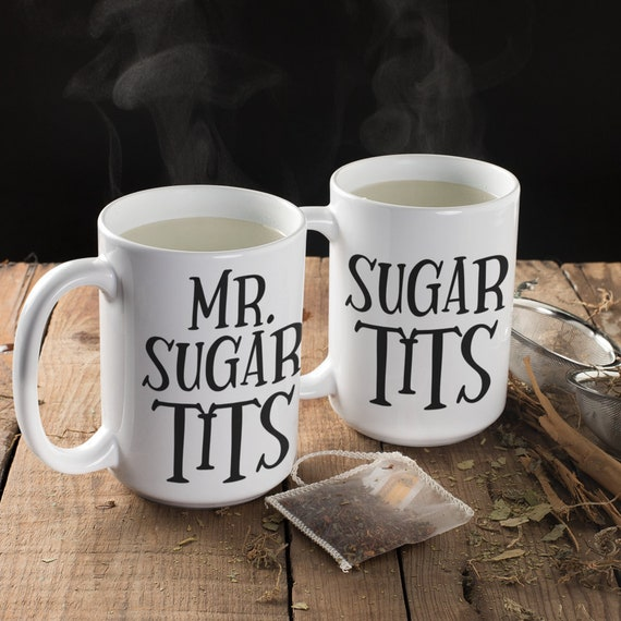 Sugar Tits Mug Set for Couples Anniversary Gift for Husband Wife Funny Mug for Boyfriend and Girlfriend Valentines Day Gift for Him and Her