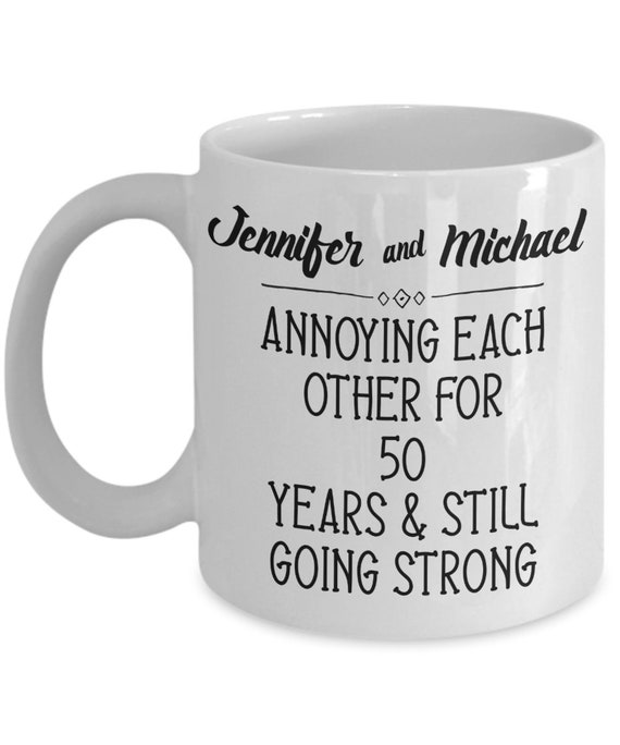 50th Anniversary Gifts for Parents Personalized Wedding Anniversary Gift 50 Years Golden Celebration Funny Coffee Mug Mom and Dad 50th Gift