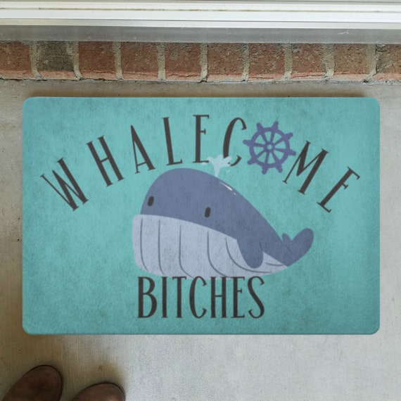 Whalecome Bitches Door Mat Front Door Decor Funny Doormat Whale Indoor Rug Outdoor Welcome Mat For Housewarming Gift Front Door Mat