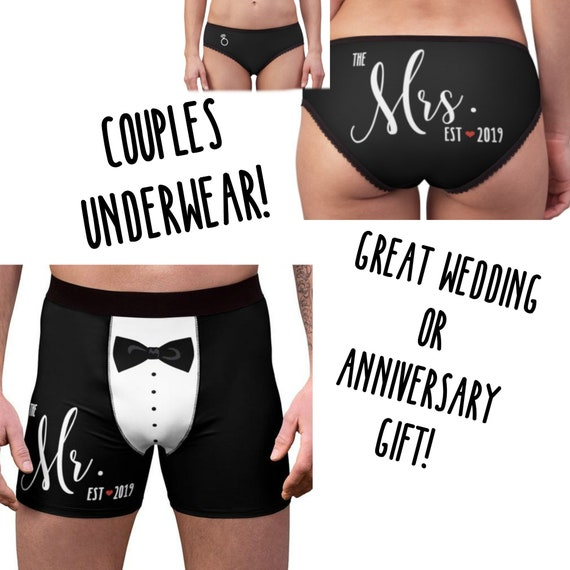Couples Underwear - The Mister & Mrs Established 2019 - Wedding Gift for Couples Matching Underwear for Honeymoon Gift Bachelorette Party