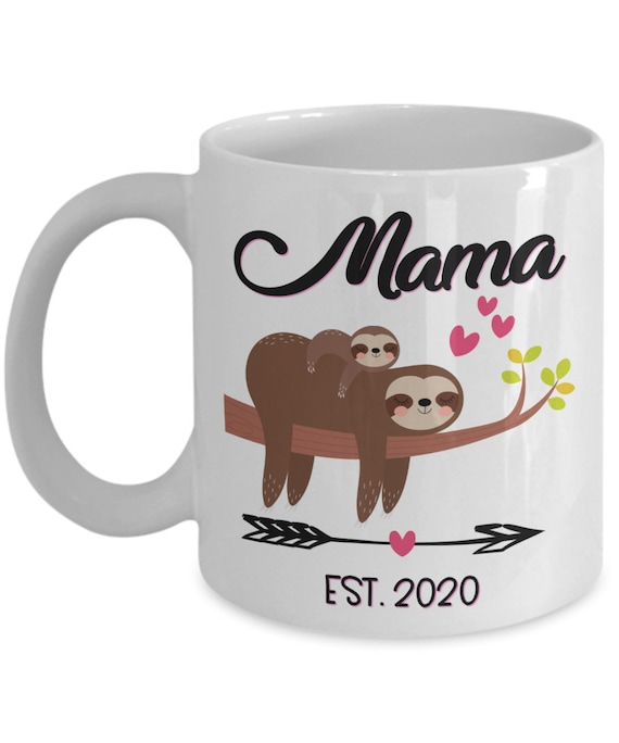 Baby Shower Mug for New Mama Gift for New Mom Mug Cute Sloth Mug Pregnancy Reveal Gift for Mama To Be Pregnancy Gift for New Mommy Baby Gift