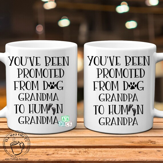 Pregnancy Announcement Grandparents New Grandma Gift New Grandpa Mug Set Pregnancy Reveal Promoted To Human from Dog Grandparent New Baby