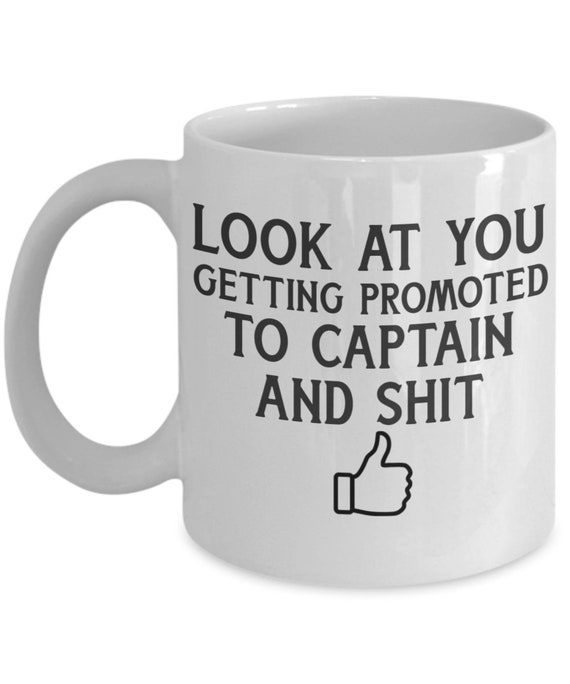 Captain mug job promotion gift police, army, firefighter, military rank coffee tea cup gifts for men and women