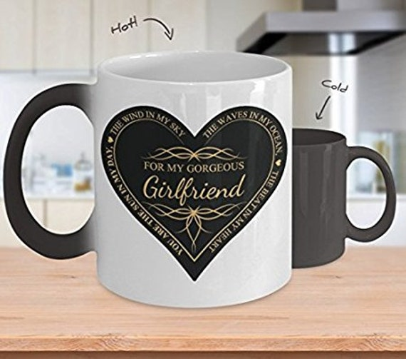 My Girlfriend Mug - You Are The Beat Of My Heart - Sentimental Thoughts Color Changing Coffee Cup Perfect Valentines Day or Anniversary Gift