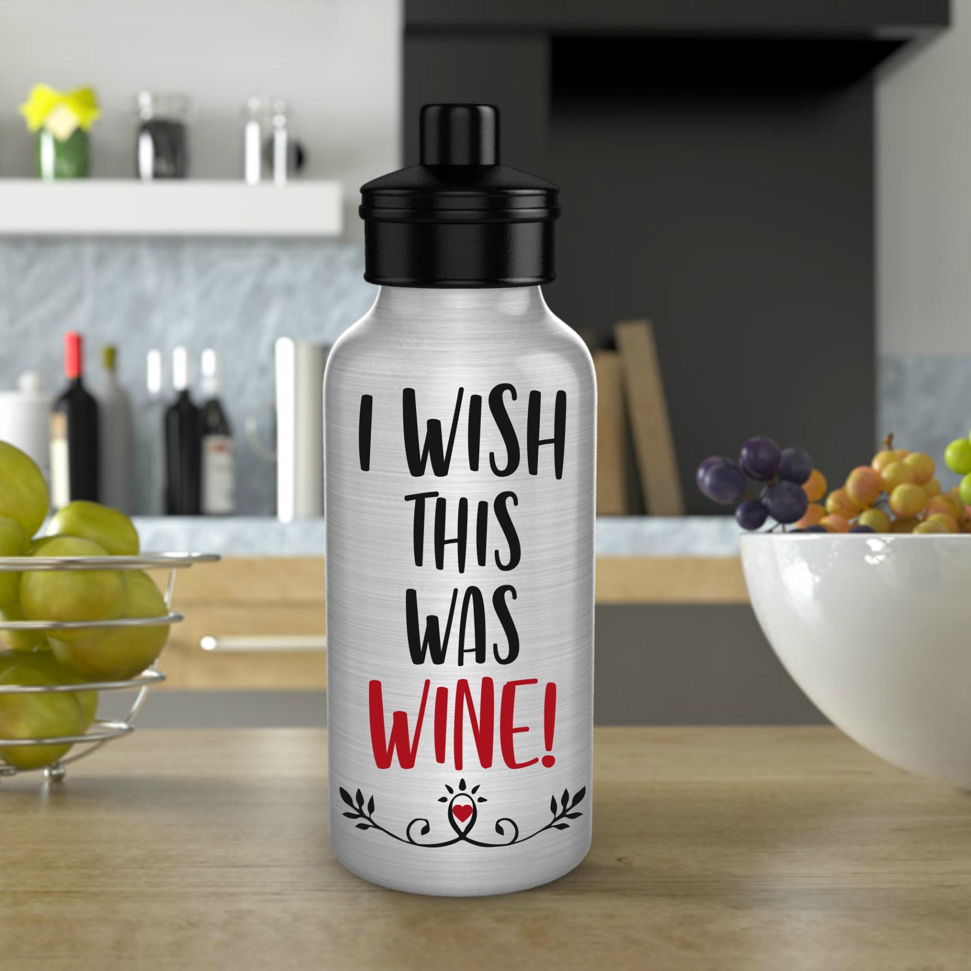 water tracker motivational bottle wish this were wine water bottle