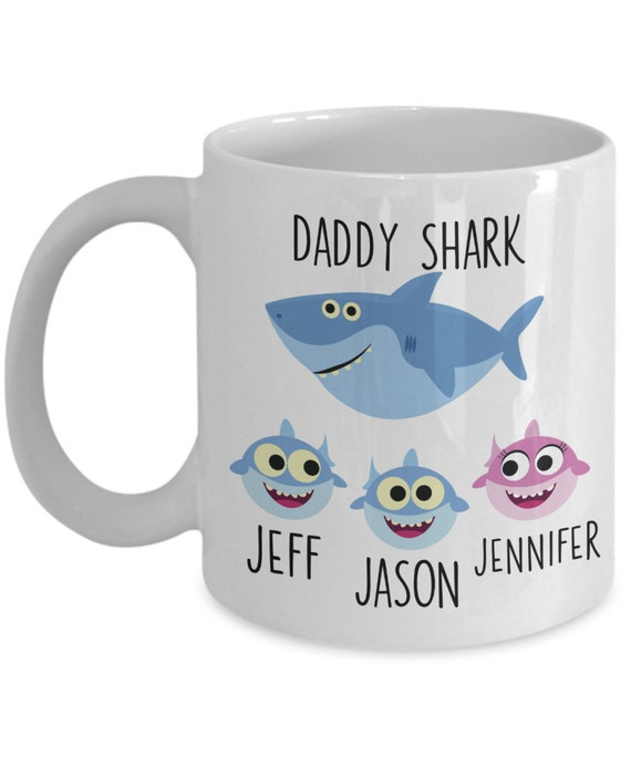 Personalized Daddy Shark Gift Papa Shark Mug for Fathers Day Gift Baby Shark Gift for Dad From Daughter Gift From Son New Dad Mug from Wife