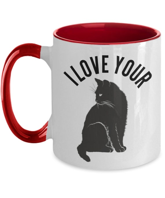 Naughty Valentines Gift for Her Two-Toned Mug for Girlfriend Anniversary Gifts for Wife Cat Coffee Cup I Love Your Pussy Adult Humor Gift