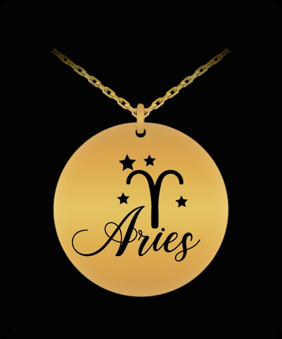 Aries, Born March 21 - April 19: Astrology Constellation Zodiac Symbol Nameplate, Laser Engraved Gold Necklace Displays Birthday