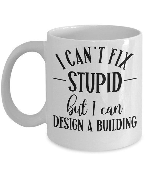 Architect Mug for Architect Gifts for Dad Birthday Gift for Architect Mom Gifts for Women Appreciation Gift for Coworker Mug Cant Fix Stupid