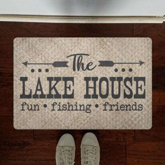 The Lake House Door Mat Front Door Decor Custom Doormat Outdoor Welcome Mat For Housewarming Gift Front Door Mat for Lake Home Cute Gift