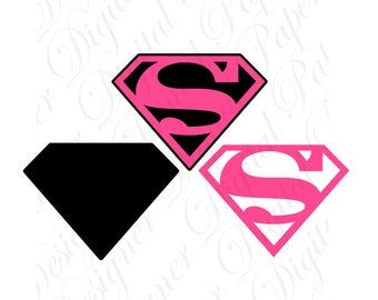Pink Super SVG and Studio 3 Cut File Cutouts Files Logo Stencil for Silhouette Cricut Decals SVGS Superwoman Girl Decal Supergirl Superman