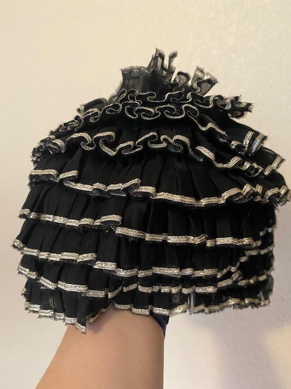 Sliver and black ruffle Sea Siren swim cap