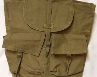 Vintage European Canvas Backpack With Leather Straps
