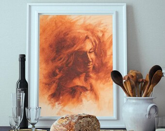 Woman in Firelight - Canas Print
