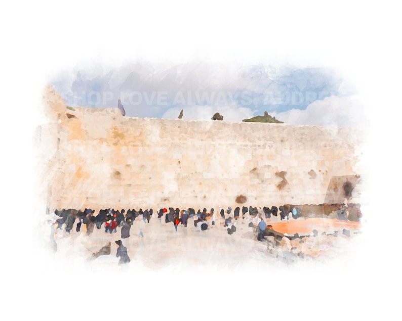 Jerusalem Watercolor Print Kotel Western Wall Wailing Wall image 0