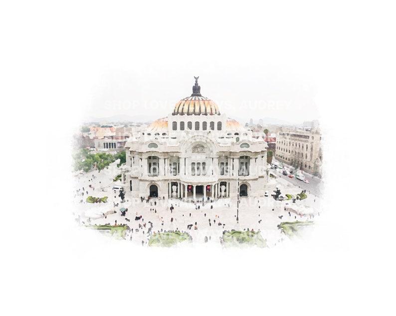 Mexico City Watercolor Print Ciudad de Mexico image 0