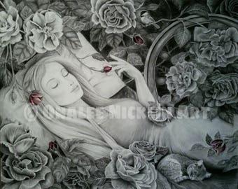 Sleeping Beauty, Fairytale Art, Spinning Wheel, Roses, Storybook Art