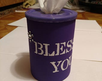 Original purple round tissue box with attached gems and block font BLESS You