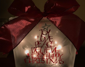 Lighted Frosted Glass Block - Joy Love Peace Believe Merry Happy Christmas