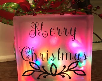 Lighted Frosted Glass Block - Merry Christmas multi colored lights holiday gift