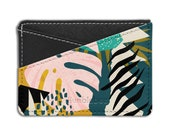 Personalised Card Holder Wallet Pastel Tropical Plant - HCH-HB236