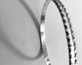 Patterned sterling silver bracelet