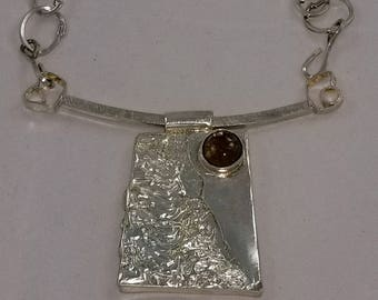 Setting Sun rectangle sterling silver necklace with rutilated quartz