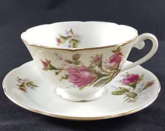 Vintage Shafford Tea Cup & Saucer With Large Pink Roses