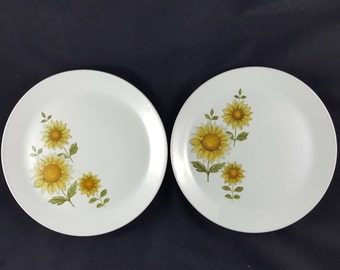 Set of 2 Johnson Brothers Ironstone Plates with Sunflowers