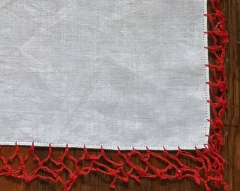 White Handkerchief with Red Tatted Edge