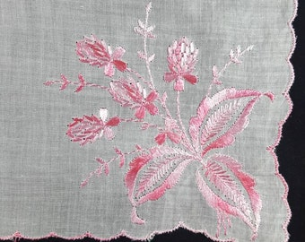 Vintage Handkerchief with Pink Embroidered Flowers