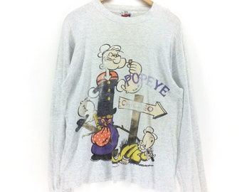 59431f2976 Vintage 90s Popeye The Sailor Man Cartoon Full Print Long Sleeve Large Size  T-shirt Retro Hip Hop Fashion Rare Design Nice Design Tee