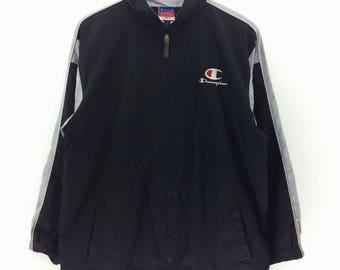 Champion Windbreaker Mens Size L Champion Vintage RAYFORM Ray Fish Shape Hooded Jacket
