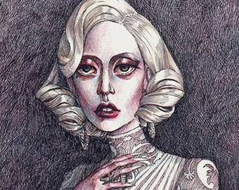 "Lady Gaga ""The Countess"" A5 Art Print / American Horror Story Hotel artwork / Victorian Vampire illustration by Daniel Fernández"