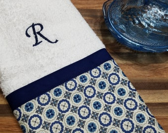 Navy Blue And White Decorative Towel, Personalized Towels, Hand Towel, Kitchen  Towel, Country Kitchen, Embroidered Towels, Monogrammed Towel