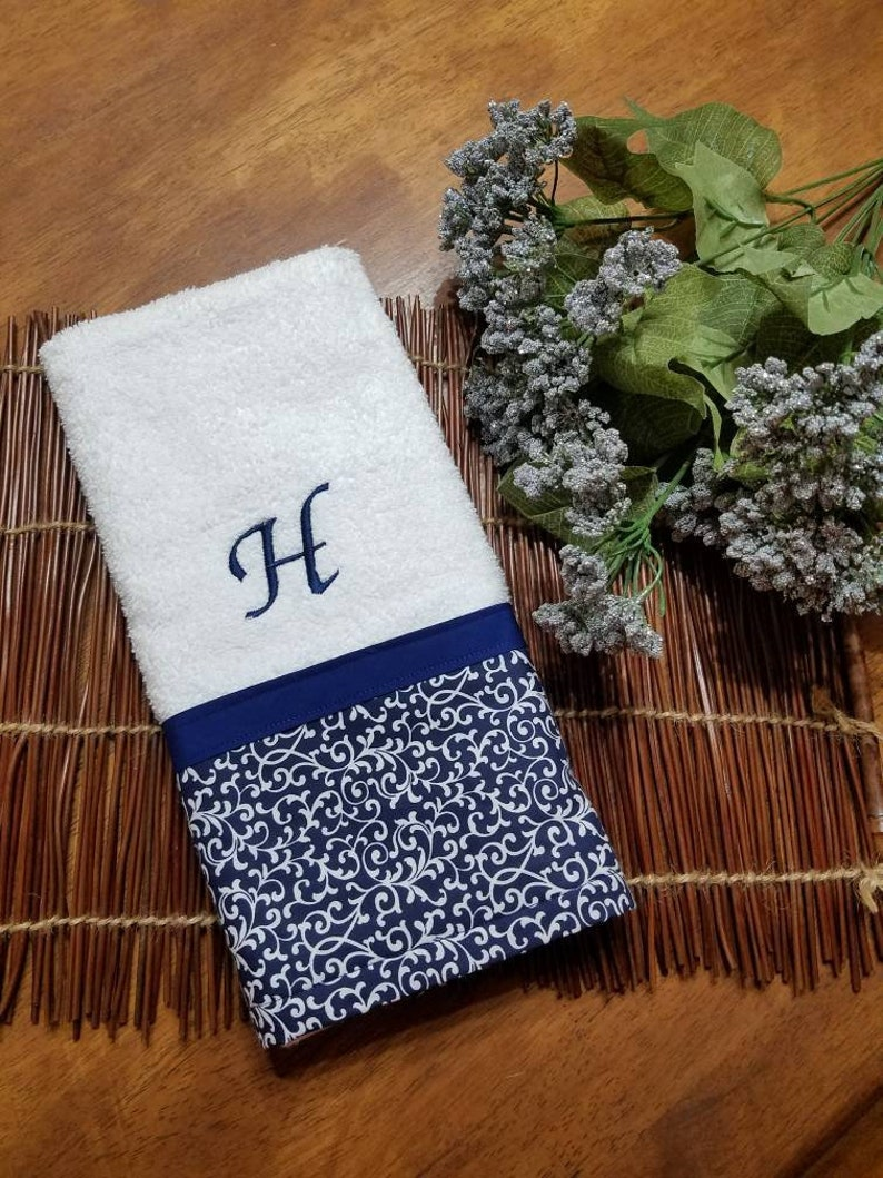 Navy blue and white swirl decorative hand towel, personalized towel,  monogrammed towel, kitchen towel, bathroom towel, guest towel, custom